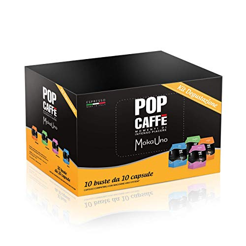100 CAPSULE MOKA UNO MIX 4 MISCELE POP CAFFE' COMPATIBILI UNO SYSTEM