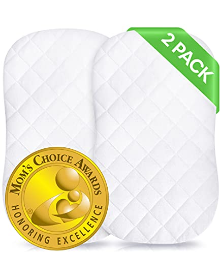 iLuvBamboo 2 Pack Waterproof Bassinet Cover to Fit Hourglass Swivel Sleeper Mattress Pad - Machine & Dryer Friendly - Secure Envelope Design - Silky Soft Bamboo Mattress Protector