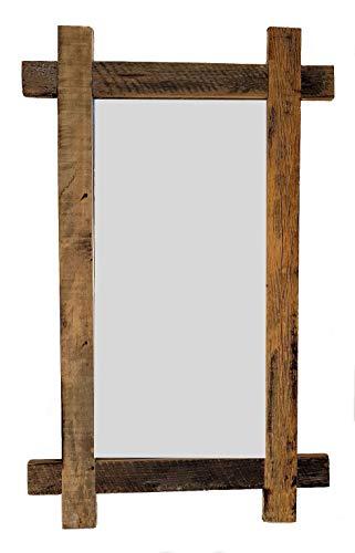 Massiv Holz Wandspiegel rustikal - 90x55 cm - Garderobenspiegel Flurspiegel Spiegel Badspiegel