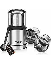 Peclio Krydd- och kaffekvarn, kaffekvarn elektrisk slipgrad justerbar 200 W med 18/8 blad av rostfritt stål, 75 g kapacitet och säkerhetslås, för kaffebönor nötter spannmål