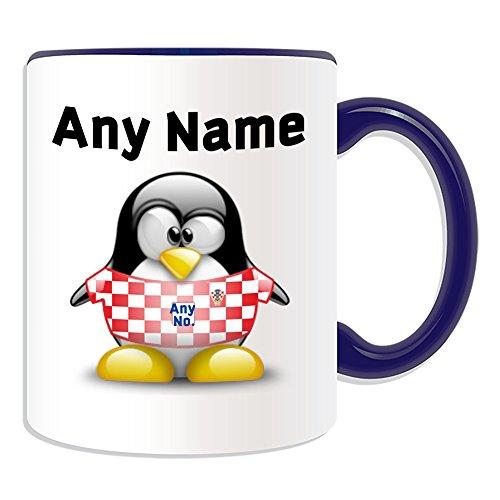 Gepersonaliseerd geschenk - Kroatië Nationale Mok (Penguin Football Team Design Thema, Kleur) Naam/nummer op uw Unieke - FC Kit Shirt Jersey Strip Vatreni De Blazers Peter Miranda Svaic Kroatische CRO Blauw