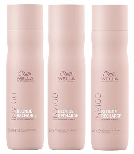 3er Color Recharge Cool Blonde Shampoo Invigo Wella Professionals Farbaufrischung je 250 ml = 750 ml