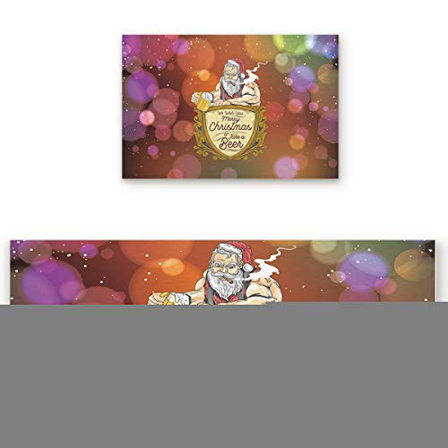 DaringOne Christmas Party Kitchen Rug Set of 2, Comfortable on Bare Feet, Non-Slip Soft and Durable Doormat Area Rugs Carpet 19.7x31.5inch+19.7x47.2inch, Santa Claus Take a Beer Holiday Theme
