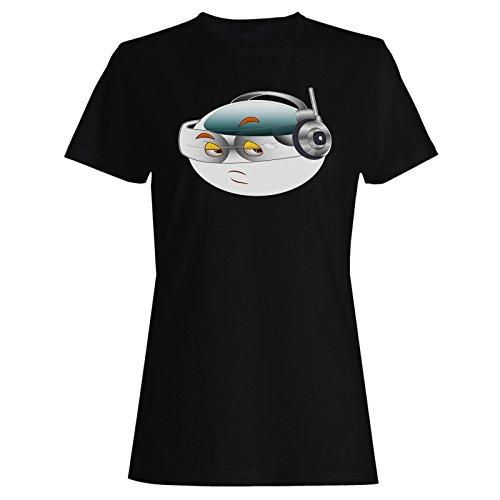 Smile-Dame mit Kopfhörer-Gesichts-Neuheit-lustige Kunst Damen T-Shirt a308f