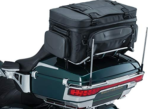 Kuryakyn 5251 XKursion XS Guardian Motorcycle Travel Luggage: Weather Resistant Seat/Trunk/Rack Bag with Bar Straps, Black