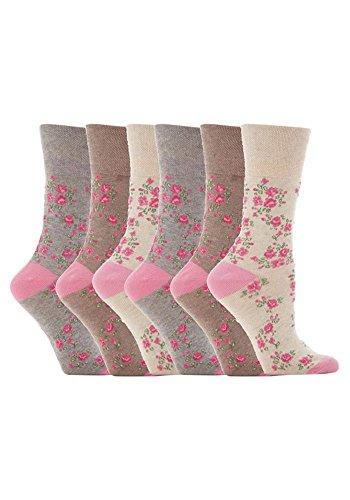 Gentle Grips 6 Parr Damen Elastische Socken, 37-42 eur blumen- Socken (Braun & Beige)