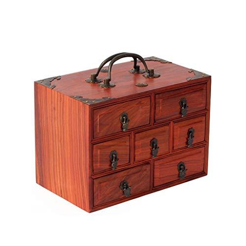 Rong jia Vintage Schmuck Box Holz Chinesische Tragbare Palisander Antike Schublade Hand Schmuck Aufbewahrungskoffer Frisierkommode Dekorative Schmuckschatulle