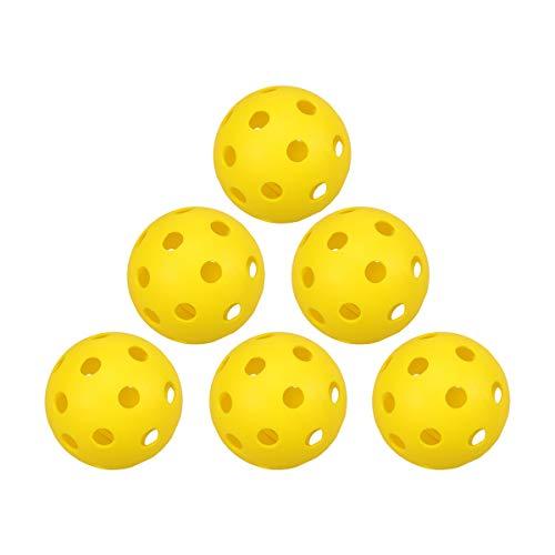 LIOOBO 14pcs Kunststoff Golfbälle Yellow Pickleball Ball mit Löchern Toy Ball für Innen-und Außenplätze Winter-Zubehör