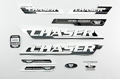 Fahrrad DEKOR Satz Aufkleber Rahmen Frame Decal Sticker Chaser schwarz grau