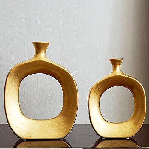 TWDYC Jarrón de cerámica Dorada Adornos de decoración del hogar Moderno Contador Jarrón Creativo Sala de Estar Flor Arreglo Flor