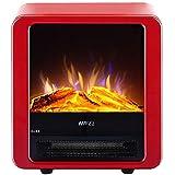 Calefactor Pequeños electrodomésticos eléctrico estufa chimenea mini de los ajustes de calor independientes interiores calentador de 2 sim con la llama.(Color: Blanco), Color: Blanco ( Color : Red )