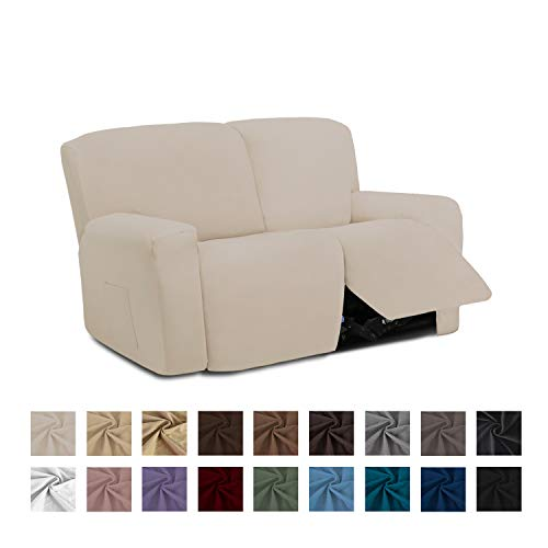 Easy-Going 6 Pieces Microfiber Stretch Sectional Recliner Sofa Slipcover Soft Fitted Fleece 2 Seats Couch Cover Washable Furniture Protector with Elasticity for Kids Pet(Recliner Loveseat,Beige)