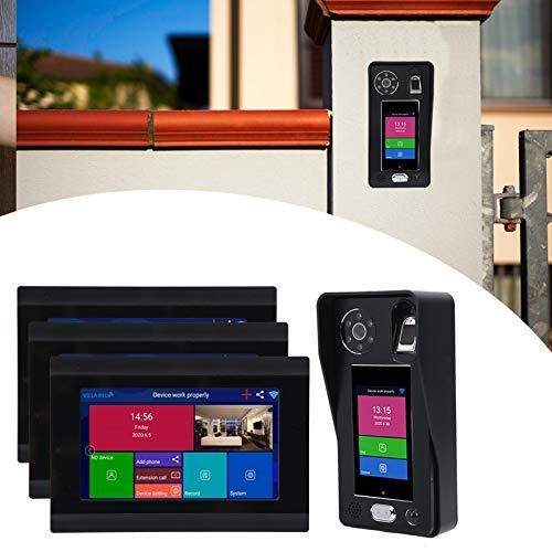 Videoportero, timbre wifi 7 pulgadas pantalla lcd huella digital contraseña reconocimiento facial con pantalla táctil de 3,5 pulgadas para villa para apartamento(Transl)