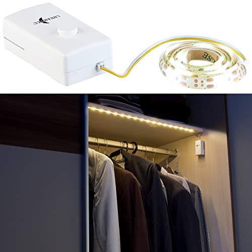 Lunartec LED Schranklicht: Indoor-LED-Streifen, 18 LEDs, Schalter, Batteriebetrieb, 160 lm, 60 cm (LED Streifen mit Batterie)