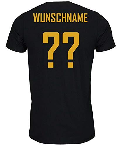 myfashionist T-Shirt Fußball Trikot WM/EM Deutschland Trikot mit Streifen in Verschiedene Grössen für Jungen Mädchen und Erwachsene mit Wunschname UND Wunschnummer (Schwarz, L)