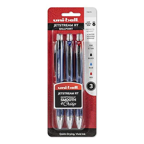 uni-ball Jetstream RT Ballpoint Pens, Fine Point (0.7mm), Assorted Colors, 3 Count