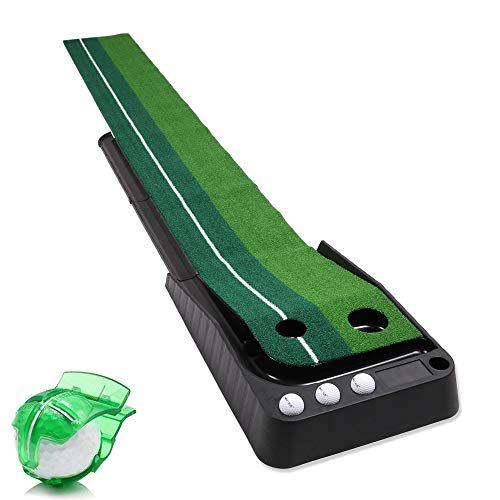HOW TRUE Indoor Golf Putting Green, Golf Putting Mat with Auto Ball Return Function, Portable Mini Golf Practice Training Aid Includes Golf Line Marker and 3 Golf Balls