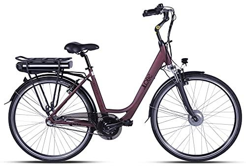 LLOBE City E-Bike Metropolitan Joy Bordeaux-rot, 28 Zoll, Akku 36V / 10Ah, 250 Watt Motor