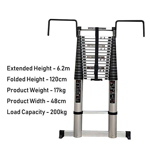LADDERS Ladder Telescopic Ladders,Portable Telescoping Extension Ladder with Detachable Hooks, Multi Purpose Atelescopic Ladders for Engineering Loft, 440Lbs Capacity,6.2M/20.3Ft