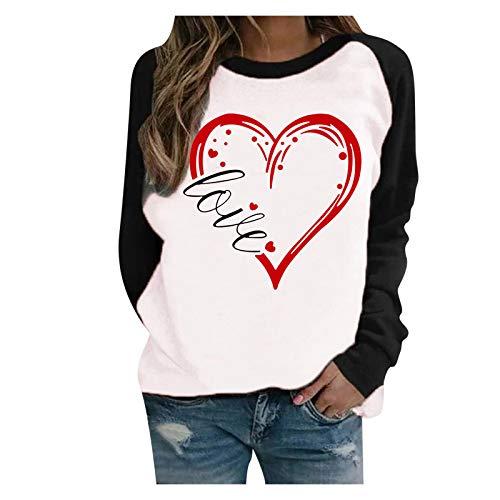 L9WEI Día de San Valentín Top de Manga Larga con Estampado de corazón Sudadera con Estampado de Mujer Camisa de Manga Larga Tops de Moda Blusa Suelta de Ocio Camisa de Cuello Redondo