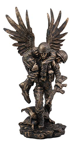 Ebros Gift Hacksaw Ridge Guardian Angel Military Soldier Carrying A Wounded Brother Figurine 13' Tall Marine Special Unit Hero of The American US Army Statue Patriotic Decor War Combat Sculpture