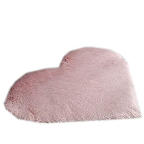 QINGJIANG Tappeto a forma di cuore, tappetino per porta in peluche, antiscivolo, per soggiorno, camera da letto, 40 x 50 cm, colore: rosa