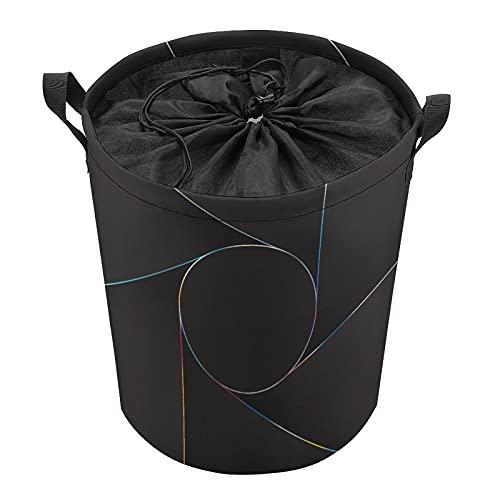 Círculo de líneas abstractas gris, cesta de ropa independiente con tapa, cesta de ropa plegable con cordón grande con asa