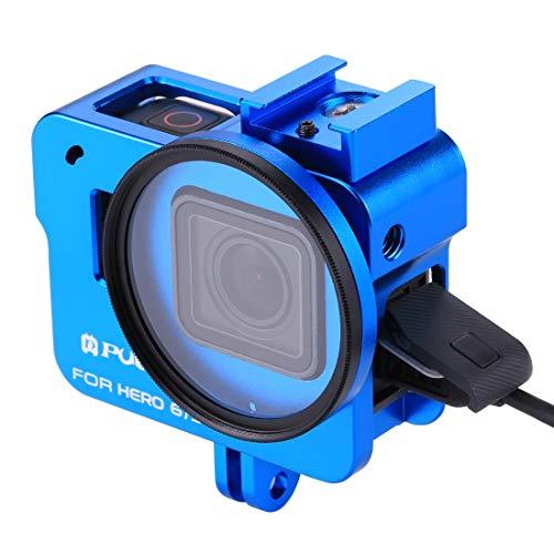 PULUZ pour GoPro Hero(2018) Case Frame en Alliage d'aluminium de Protection Cage de Logement + 52mm UV Filter Lens et Cap pour GoPro Hero(2018) 7 Black 6 5 (Bleu)