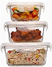 Femora Borosilicate Square Glass Food Storage Containers with Air Vent Lids- Set of 3-300ml, 500ml, 800ml