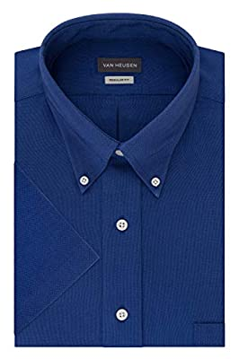 Van Heusen Men's Short Sleeve Oxford Dress Shirt, English Blue, Medium from Van Heusen Corporate Outfitters Men's Dress Shirts