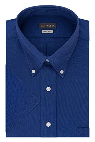 Van Heusen Men's Short Sleeve Oxford Dress Shirt, English Blue, XX-Large