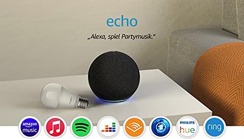 Echo (4. Generation), Anthrazit + TP-Link Tapo Smarte Lampe (E27), Funktionert mit Alexa