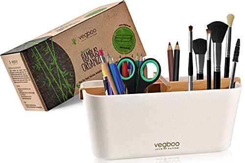 vegboo® Organizer - Plastikfreie Aufbewahrungsbox mit 4 Fächer - Schicke Aufbewahrung als Bad Organizer, Schreibtisch Stiftehalter oder Make Up Organizer - Plastikfreie Ordnungsbox Weiß aus Bambus