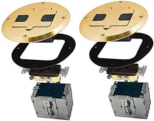 Hubbell-Raco 6239BP Single Gang Floor Kit with Recessed Duplex 15A TR Device and Adjustable Steel Box Brass Finish Pack of 2