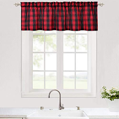 """Haperlare Buffalo Plaid Window Kitchen Valance, Plaid Gingham Pattern Valance Curtains for Kitchen Cafe Curtains Thick Yarn Dyed Bathroom Window Curtains, 56"""" x 15"""", Black /Red"""