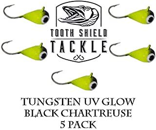 Tooth Shield Tackle UV Glow Tungsten Ice Fishing Jigs 5-Pack Crappie Perch Bluegill Panfish Jig 5mm