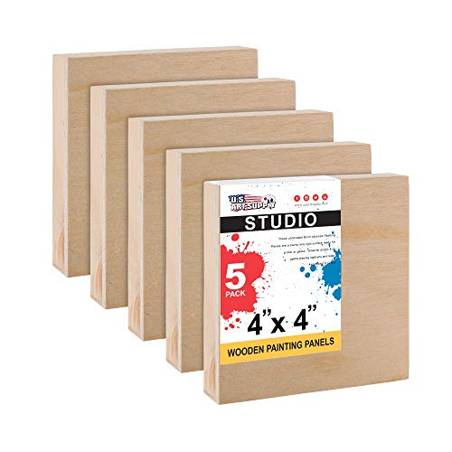 U.S. Art Supply 4' x 4' Birch Wood Paint Pouring Panel Boards, Studio 3/4' Deep Cradle (Pack of 5) - Artist Wooden Wall Canvases - Painting Mixed-Media Craft, Acrylic, Oil, Watercolor, Encaustic