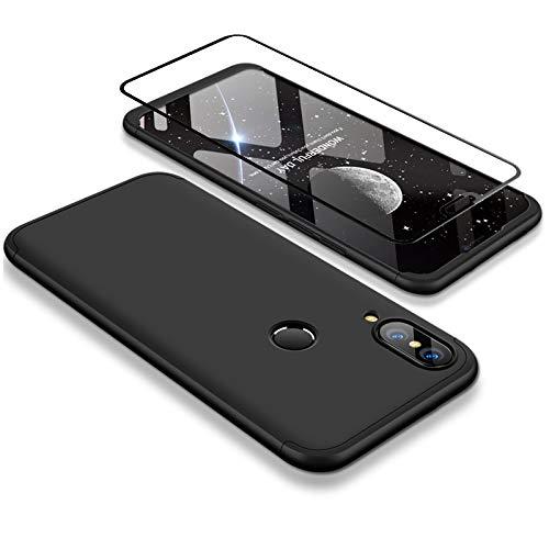 Joytag Funda Huawei P20 Lite 360 Grados Negro Ultra Delgado Todo Incluido Caja del teléfono de la Protección 3 en 1 Huawei Nova 3e PC Case + Protectora de Película de Vidrio Templado Negro