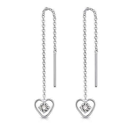 DTPsilver 925 Sterling Silver Pull Through Drop Chain Earrings & Dangling Heart with SMALL Round 3 mm Glittering Crystals from Swarovski Elements - Total Length 68 mm - Colour : Clear Crystal