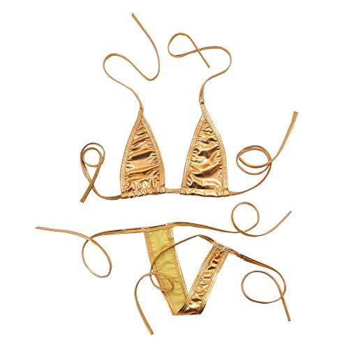 TiaoBug Damen Bikini Set Mini Micro BH Bra String-Tanga Set Mini Bikini Glanz Wetlook Sexy Dessous Unterwäsche Set Gold One Size