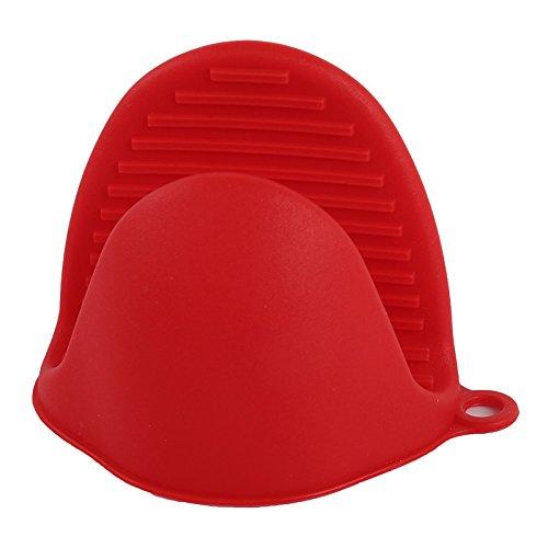 PPuujia 1 x Silikonhandschuhe für Küche, Backen, Ofen, hitzebeständig, mit Clips, Isolierung, antihaftbeschichtet, zum Kochen, Backen, Ofenhandschuhe (Farbe: Rot)