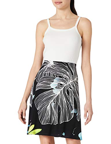 Desigual Fal_Leaves Falda, Negro, XL para Mujer