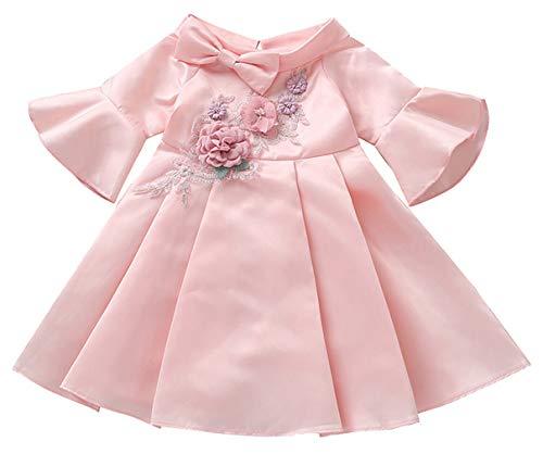MARRYME Robe Bébé Fille Nœuds Papillon Robe de Soirée Classique Broderie Manches Courtes Robe de Princesse Anniversiare 2-8 Ans
