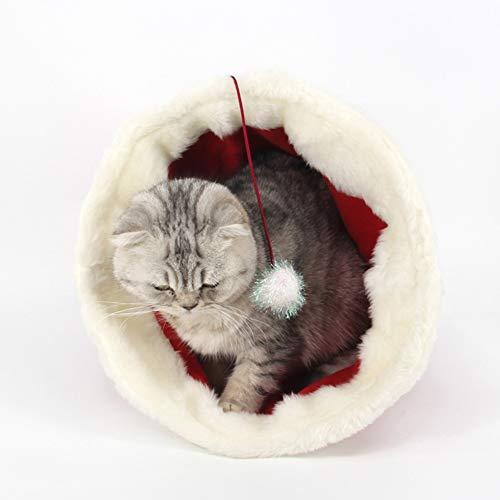 Leoie Haustier-Schlafsack mit Weihnachtsmütze, Plüsch, Winter, warm, für Katzen und Welpen