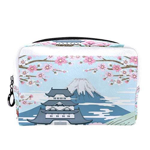 TIZORAX Japanse kersenbloesem landschap make-up tas toilettas voor vrouwen huidverzorging cosmetische handige zak rits handtas