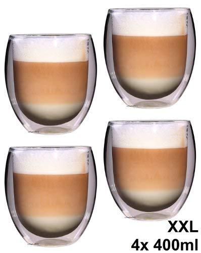 Feelino 4X 400ml Rondo XXL doppelwandiges Teeglas/Kaffeeglas, ed...