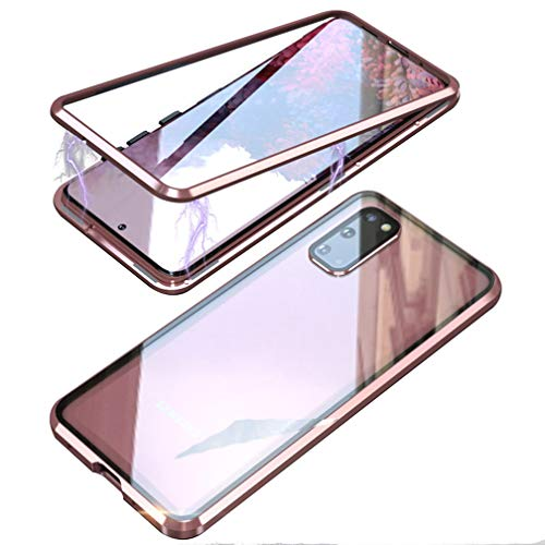 UMTITI Compatible Samsung Galaxy S20 Ultra (6.9 inch 2020) Case, Magnetic Adsorption Metal Frame Clear Tempered Glass Back Cover with Built-in Magnet Flip with a Lens Protector (Pink)