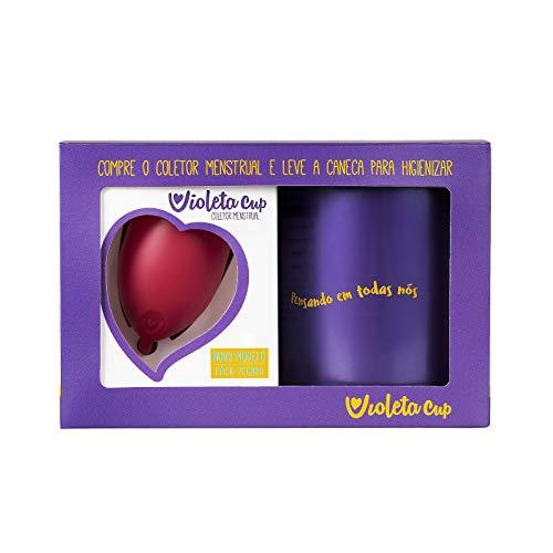 Kit Coletor Menstrual Violeta Cup B Vermelho + Caneca Higienizadora, Violeta Cup, Vermelho, Tipo B Mulheres Com Até 29 Anos E Sem Filhos, E/Ou Com Colo Do Útero De Altura Baixa