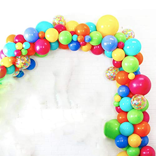 Circus Carnival Party Balloons Garland Arch Kit, Fiesta Rainbow Party Balloons, Red Yellow Blue Balloon Decoration Strip for Baby Shower, Paw Birthday Party, Wedding Party Decorations