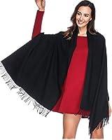 HOYAYO Cashmere Pashmina Shawls and Wraps Scarf for Women(Black)(Size:L)